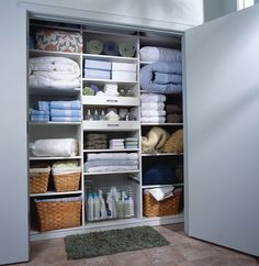 Storage: Linen Closet Organizers: A Solution to Organize Linens bed covering bedding sets bed spreaders towels for bathing boxes for linen storage Linen Closet Organization, Laundry Room Storage, Closet Storage, Bathroom Storage, Basement Laundry, Toy Storage, Bathroom Organization, Organized Linen Closets, Laundry Closet