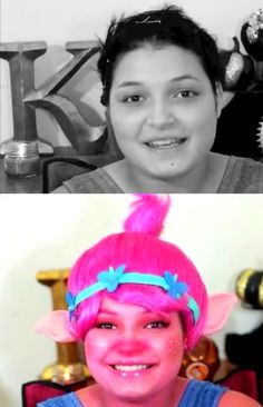 Before and After: Poppy Trolls Movie Makeup by Kindly Kiana                                                                                                                                                                                 More