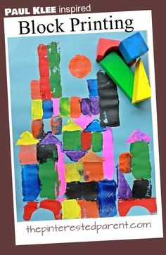Fun project idea using blocks! (Sponge shapes could also work.) Paul Klee Inspired Block Printing – The Pinterested Parent