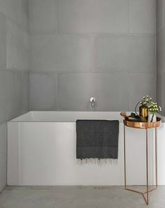 26 Trending Bathroom That Will Make Your Home Look Cool - Home Decoration Experts Bathroom Concrete Floor, Concrete Tiles, Bathroom Flooring, Bathroom Fixtures, Timeless Bathroom, Modern Bathroom, Small Bathroom, Bathroom Ideas, Bathroom Bath