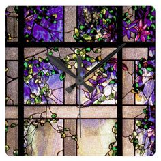 Purple Stained Glass Clocks, Purple Stained Glass Wall Clock Designs