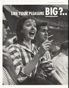 """1956 CHESTERFIELD CIGARETTES vintage magazine advertisement """"Big"""" ~ Like Your Pleasure Big? ... Smoke for Real - Smoke Chesterfield! ... A smooth surprise in every pack! ~ Size: The two-page advertisement includes one full page and one half page. The dimensions of the full page are approximately 10.5 inches x 13.5 inches (26.75 cm x 34.25 cm). The dimensions of the half page are approximately 5.25 inches x 13.5 inches (13.25 cm x 34.25 cm). Condition: This original vintage ..."""