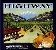 Ontario Highway Mt. Mount Baldy Version 2 Orange Citrus Crate Label Art Print