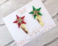 Christmas Star Hair Clip Set - Christmas Hair Clip, Glitter Hair Clip, Toddler Hair Clip, Baby Hair Clip, Red Glitter, Snap Hair Clip