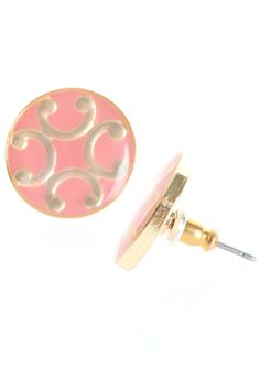 Lacquer Round Stud Earrings in Pink | T.I.L. Darling $14.00