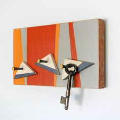 SURF: retro modern wall key holder organizer by PIGandFiSH