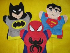 Super Hero Puppets  Should be able to make these quickly too