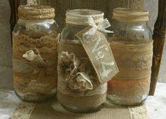 Burlap and vinatge lace wedding jars by Bannerbanquet