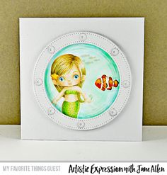 Handmade card from Jane Allen featuring Mermazing Stamp Set, Blueprints 24 Die-namics, Circle STAX Set 2 Die-namics, and Pierced Circle Frames Die-namics from My Favorite Things #mftstamps