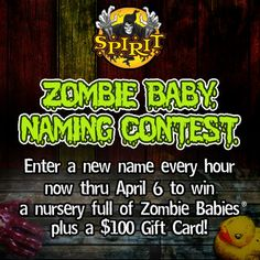 My minions have leaked a new Zombie Baby and I need you to name it! Enter your evil name now through April 6 by clicking here: https://apps.facebook.com/zbnamingcontest/pages/1813b1a2c885c89cb5e08891e03331e8