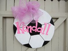 Wooden Soccer Door Hanger Personalized with Your by Earthlizard, $40.00