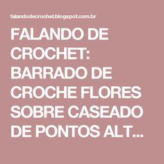 FALANDO DE CROCHET: BARRADO DE CROCHE FLORES SOBRE CASEADO DE PONTOS ALTOS DUAS BASES