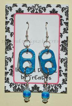 Blue Glitter Sparkle Soda Pop Aluminum Can Pull Tab Fashion Earrings by InspiredDesignzByJK