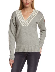 Dale of Norway Women's Alpina Feminine Sweater, Light Charcoal/Cream, X-Large. 3 ply knit wool.