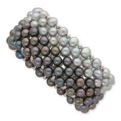 Sterling Silver Black/Grey 6-7mm FW Stretch Bracelet Cultured Potato Pearl