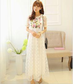 Summer Women's Embroidery Flower Vestido Renda Dress High Waist Saia Longa Femininas 2014 Spring Elegant Big Hem Lace Dresses $27.89