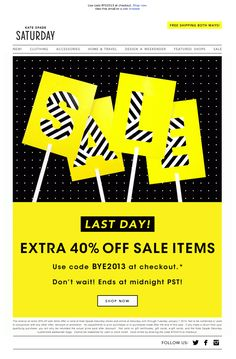 #newsletter Saturday 01.2014 Last day! Extra 40% off sale! Ends at midnight!
