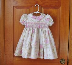 Girl, toddler smocked dress, shabby chic, pink, lavender flowers, size 24Mo, 2T, ready to ship