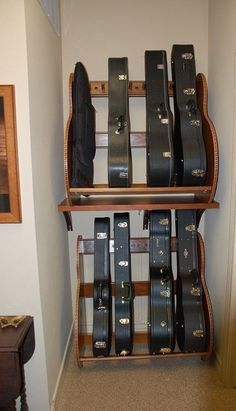 This customer built shelves for their Studio™ Guitar Case Racks. Home Studio Musik, Music Studio Room, Guitar Storage, Guitar Display, Home Music Rooms, Studio Furniture, Music Furniture, Furniture Storage, Furniture Ideas