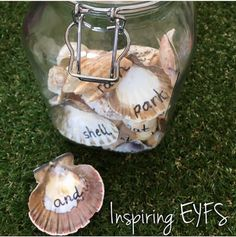 Shells, shells, glorious shells!  Here I have used a permanent marker to write familiar words on the shells. Can be used in the sand tray, water tray on investigated alone.  For more information please email me at: cher.burton@inspiring-eyfs.com