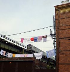 Clotheslines and the M Line in Ridgewood, Queens.