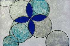 Pintura sobre papel, círculo azul e prateado - Cruz de Prata, obra de Quim…