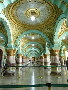 Interior Mysore Palace located in the Southern state Karnataka of India.