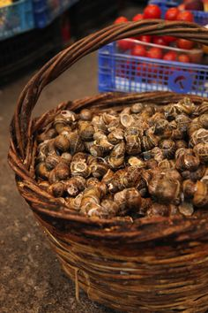 A basket of snails at a market in Crete.