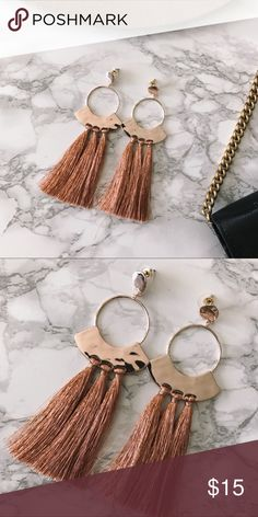 "⭐️ SALE ⭐️ DELILAH Rose Gold Tassel Earrings Rose gold statement earrings approx. 5"" in length. As seen on @rosegoldlining.  cut the tassel to your desired length! Jewelry Earrings"
