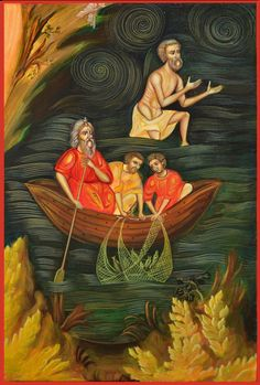 Miracle of the Apostles Fishing in the Sea of by Sacralicons, Ft70000.00