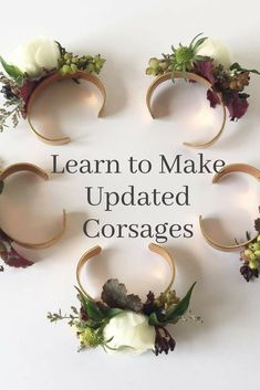Learn step-by-step how to make updated current floral corsages on a gold cuff. Lovely for weddings, mother of the bride flowers, bridesmaid flowers, DIY wedding flowers, prom. Mother Of The Bride Flowers, Mother Of Bride Corsage, Wrist Corsage Wedding, Bridesmaid Corsage, Bridesmaid Flowers, Wrist Corsage Diy, Diy Corsages, Prom Corsage, Wedding Bouquet