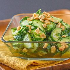 This cucumber salad has all the delicious flavors that make Thai food so good…salty, sweet, sour and spicy!