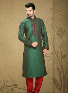 Green Art silk Walima wear kurta pajama for men C15220
