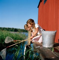 Summer in Sweden - fishing for crabs and small fish (not for eating, just as a game)