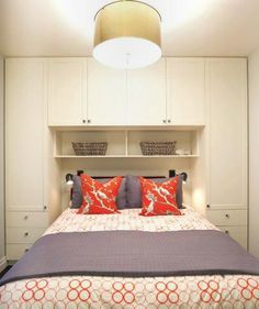 bedroom with built-in closets (in Adore Home Magazine by Nest Design Studio) - love how it's buit around the bed.Great idea for small bedrooms. I'd put a lighted niche in each side for sleepers to put glasses and alarm clock. Modern Bedroom, Cottage Bedroom, Bedroom Inspirations, Bedroom Storage, Bedroom Layouts, Bedroom Decor, Bedroom Cupboards, Home Decor, Small Bedroom