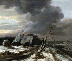 Jacob van Ruisdael, Paesaggio invernale con il fiume Amstel e Amsterdam sullo sfondo (1650 circa).