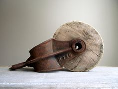 Barn Pulley Industrial Bookend / Antique Cast Iron and Wood Pulley / Farmhouse Rustic Industrial Decor on Etsy, $42.00