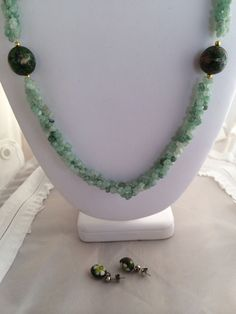 Jade Torsade Bead Chips with  Cloissone Bead by TrendsCouture
