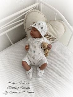 """""""Snowdrop """" Romper Knitting pattern for Reborn doll 16 or Mth Old Baby Baby Doll Clothes, Doll Clothes Patterns, Baby Dolls, Barbie Clothes, Jumper Knitting Pattern, Baby Knitting Patterns, Knitting Ideas, Reborn Dolls, Reborn Babies"""