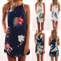 Womens Boho Holiday Short Maxi Dress Evening Party Beach Sleeveless Mini Dresses