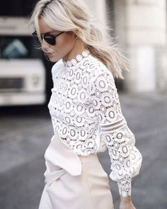 Fashion Inspiration | Crochet Lace   Ivory Skirt