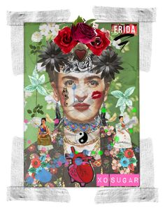 Frida Collage Art by chubbymannequin on Polyvore featuring art, frida and TormentedSugar
