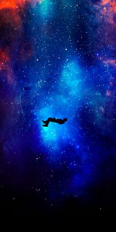 Silhouette, Levitation, space, cosmos, fantasy, 1080x2160 wallpaper