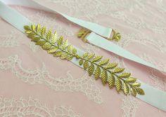 White elastic waist belt. Leaf belt. Gold leaf. Grecian belt. Greek dress belt. Bridal belt. Bridesmaids belt. by MissLaceWedding on Etsy