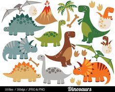 Dinosaur Clipart, Dinosaurs Clip Art, Tyrannosaurus Rex Stegosaurus Triceratops pterodactyl Egg - Co