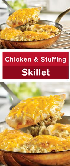 This delectable one-skillet dish uses cream of chicken soup to make a family-favorite dinner that's ready in just 30 minutes. This Chicken and Stuffing Skillet is as delicious as it is easy to make.