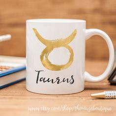 Taurus mug, with brush lettered zodiac sign by TheMugsBoutique on Etsy