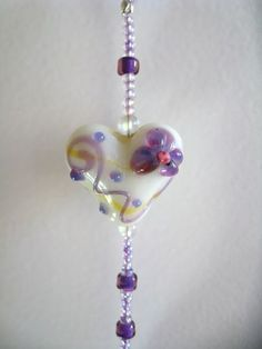 Crystal Prism Heart Beaded Suncatcher Window Ornament | SolanaKaiDesigns - Housewares on ArtFire
