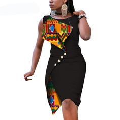 New Fashion African Dresses for Women Sexy Sleeveless Bazin Riche African Print Cotton Dress Lady Elegant Party Dresses Item Type: Africa Clothing Material: Cotton Type: Kanga Clothing Care: Dry Clean Size: African Fashion Ankara, Latest African Fashion Dresses, African Print Fashion, Africa Fashion, Dress Fashion, Short African Dresses, African Print Dresses, Short Dresses, African Attire