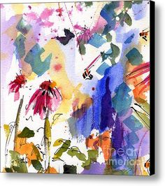Expressive Watercolor Flowers And Bees Canvas Print / Canvas Art By Ginette Callaway